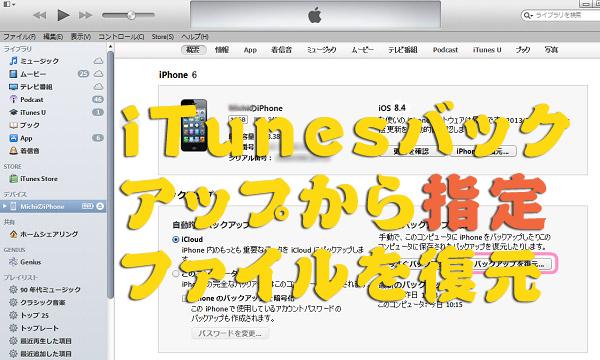 iTunesのバックアップから指定ファイルを復元