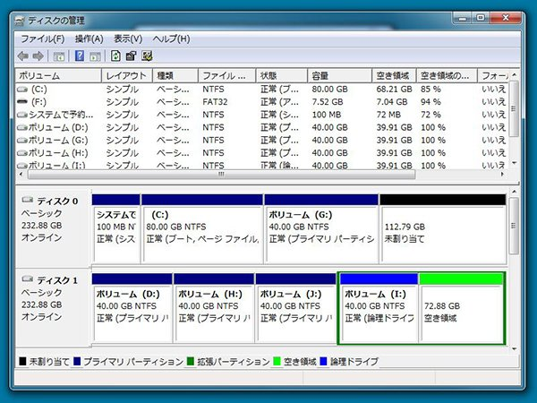 MBR形式のディスクパーティション