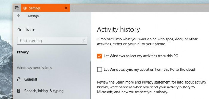 Windows10プライバシーでTimelineをオフする