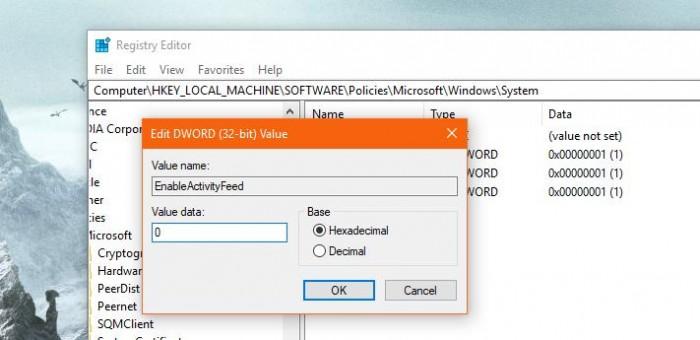 Windows10レジストリでTimelineを閉じる