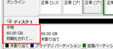 新しく購入したハードディスクが初期化されていません。