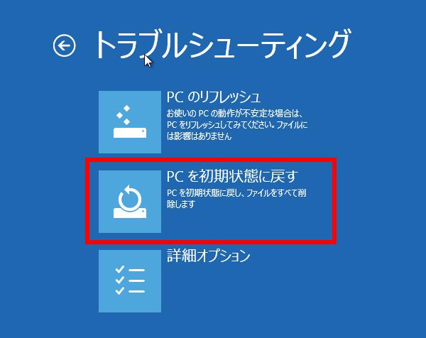 セーフモードのトラブルシューティングというページでPC を初期状態に戻す