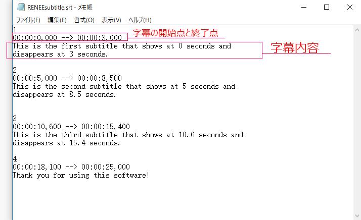 字幕編集メモ