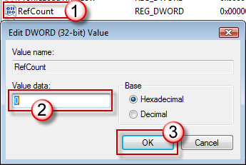 RefCount をダブルクリックして、「0」と入力し、[OK] をクリックします