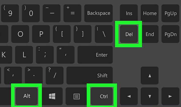 「Ctrl」 + 「Alt」 + 「Delete」キーを同時に押す