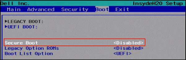 BIOSに入ったら、「→」ボタンを使って「Boot」タブを選択します。それでボタン「↓」を使用して「Secure Boot」オプションを選択し、Enterを押します。次に、「Disabled」を選択してEnterを押します。