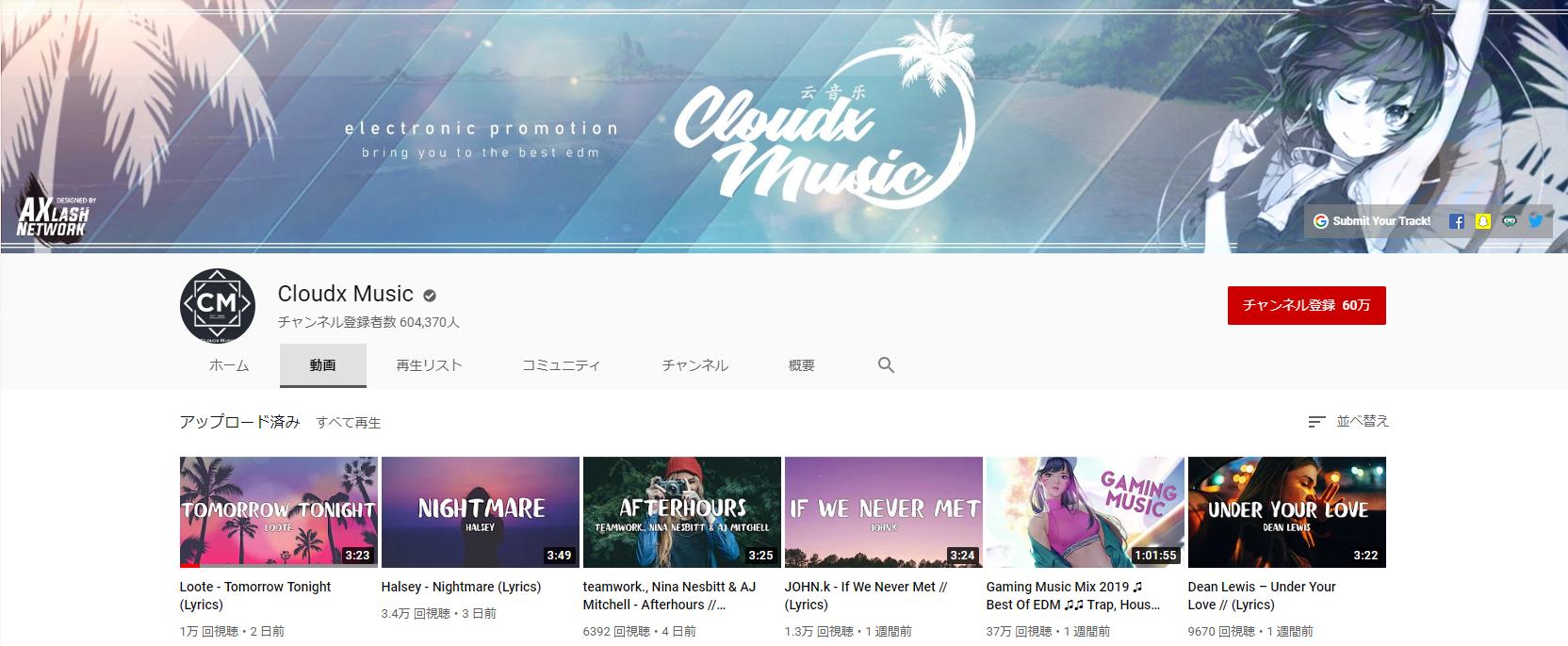 チャンネル-Cloudx Music